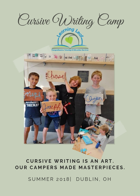 Learning Leaf Cursive Writing Camp 2018